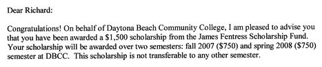 $1500 James Fentress scholarship letter, excerpt