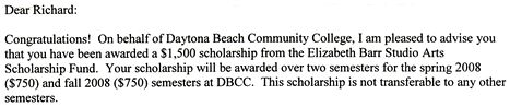 $1500 Elizabeth Barr Studio Arts scholarship letter, excerpt