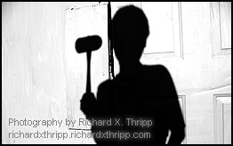 Silhouette of a man holding a hammer -- Photography by Richard X. Thripp